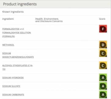 This screen shot shows a rating associated with ingredients in a particular laundry item rated by the ewg.org, as described in this post on CALMERme.com