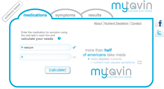 This screen shot shows the medication search page on the mytavin.com website, as described in this post on CALMERme.com