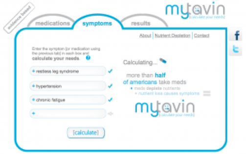This screen shot shows the symptom search page on the mytavin.com website, as described in this post on CALMERme.com