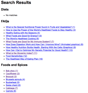 Screen shot of a search results page on whfoods.com, as described in this post on CALMERme.com