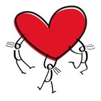 Image shows a red heart with stick figures holding on to it, as a depiction of love, as described in this post on CALMERme.com