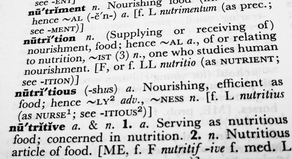 Image shows dictionary definition of nutrition as discussed in this smoothie recipe on CALMERme.com