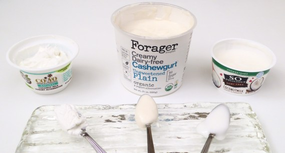 Image shows three unsweetened plain yogurts, as described in this post on CALMERme.com