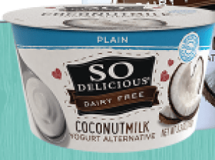 Image shows carton of sweetened So Delicious plain yogurt, as described in this post on CALMERme.com