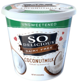 Image shows carton of unsweetened So Delicious plain yogurt, as described in this post on CALMERme.com
