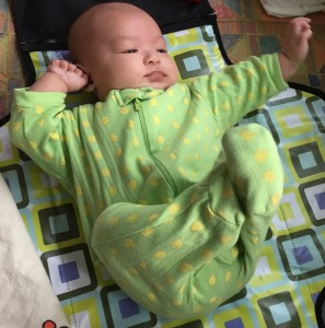 Image depicting baby stretching