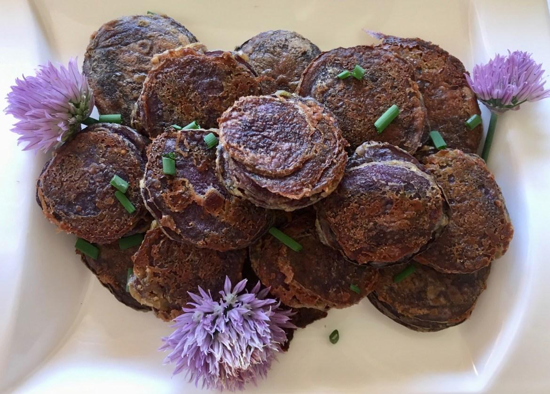 Image showing purple potato stacks recipe from CALMERme.com