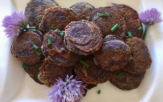 Image showing purple potato stacks recipe from CALMERme.com