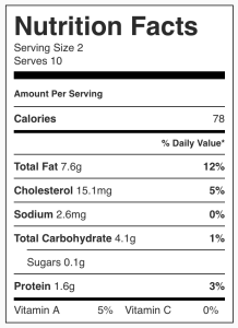 Image showing nutrition facts for omega 3 raw chocolate from CALMERme.com