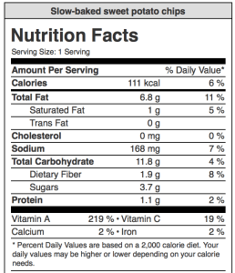 Image of nutritional content in slow baked sweet potato chips from CALMERme.com