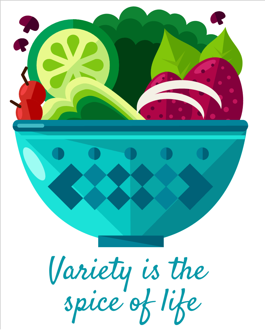 Image showing variety of vegetables to depict variety beats superfoods from CALMERme.com