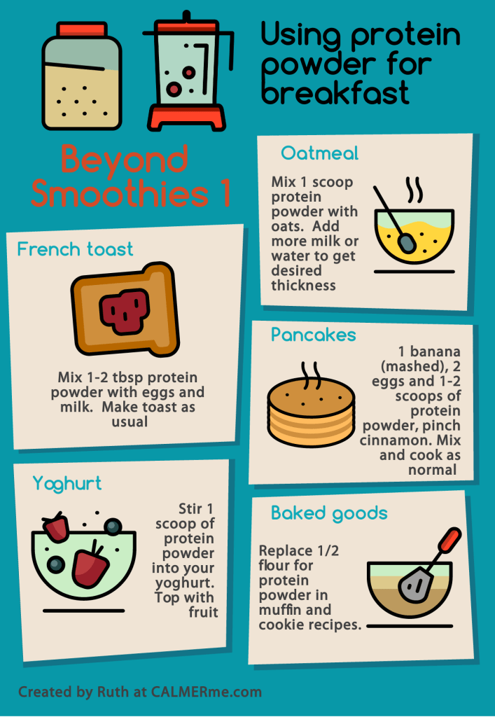 Infographic on ways to use protein powder beyond smoothies from CALMERme.com