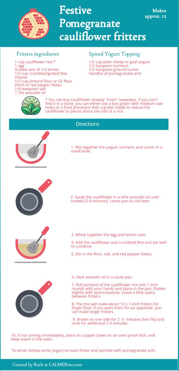 Infographic for festive cauliflower fritters recipe from CALMERme.com