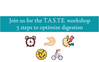 Blogheader for the TASTE workshop to optimize digestion by CALMERme.com
