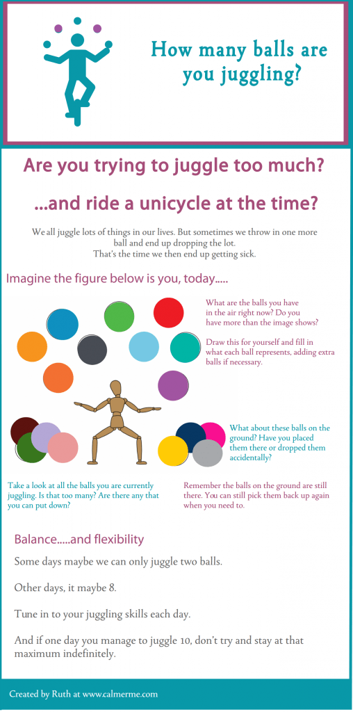 Infographic about juggling to much in life from CALMERme.com