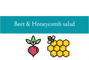 Blogheader for beet and honeycomb salad recipe from CALMERme.com