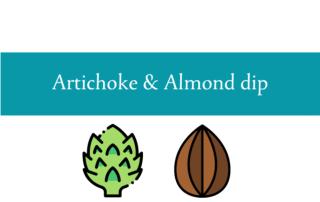 Blogheader for artichoke and almond dip from CALMERme.com