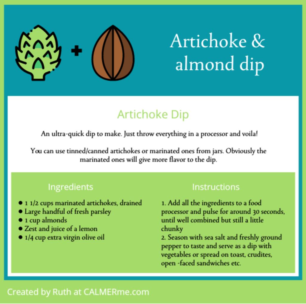 Infographic for Artichoke and almond dip recipe from CALMERme.com