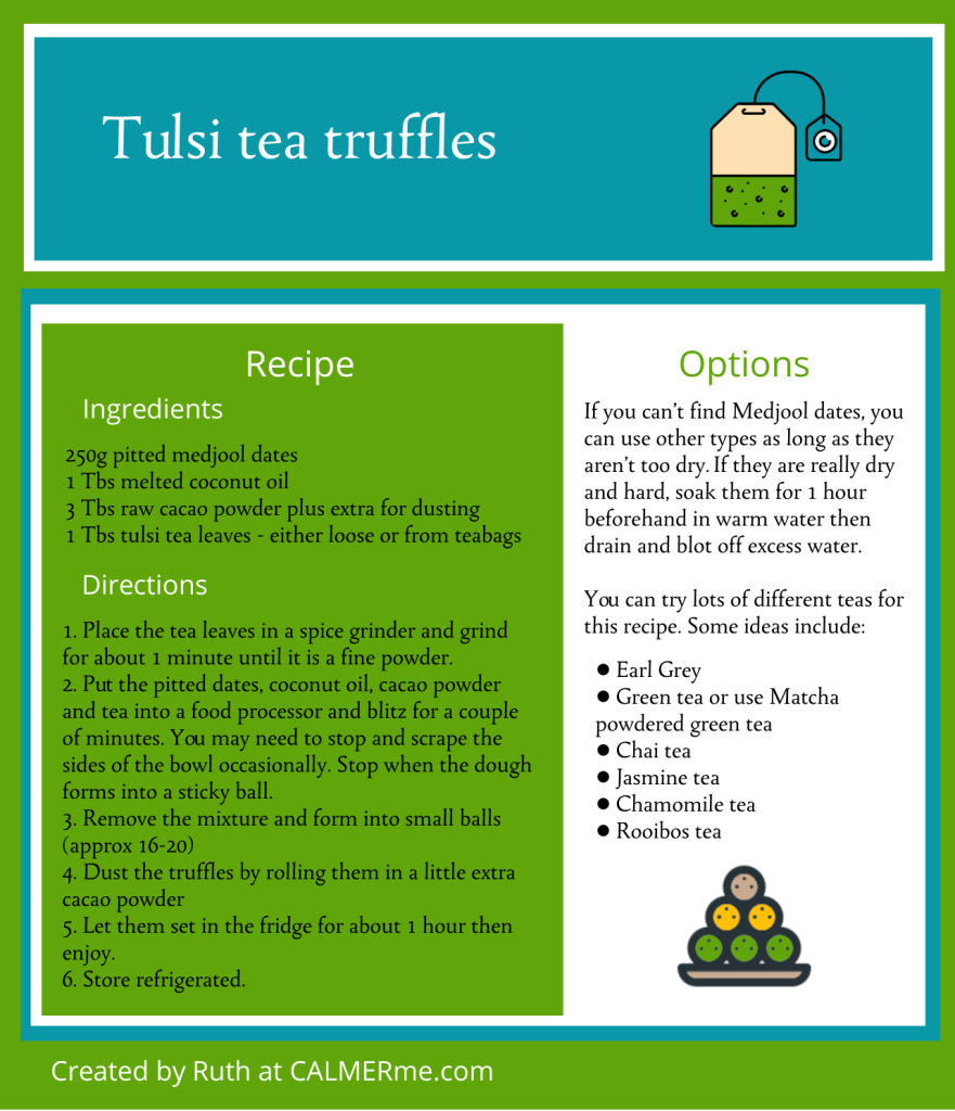 Tulsi tea truffles recipe from CALMERme.com
