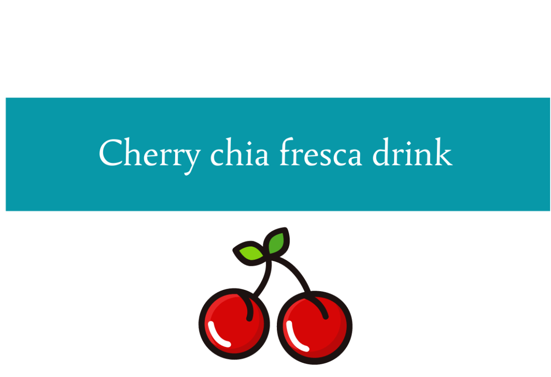 Blogheader for cherry chia fresca drink recipe from CALMERme.com