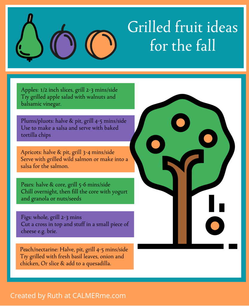 Infographic of grilled fruit for fall from CALMERme.com