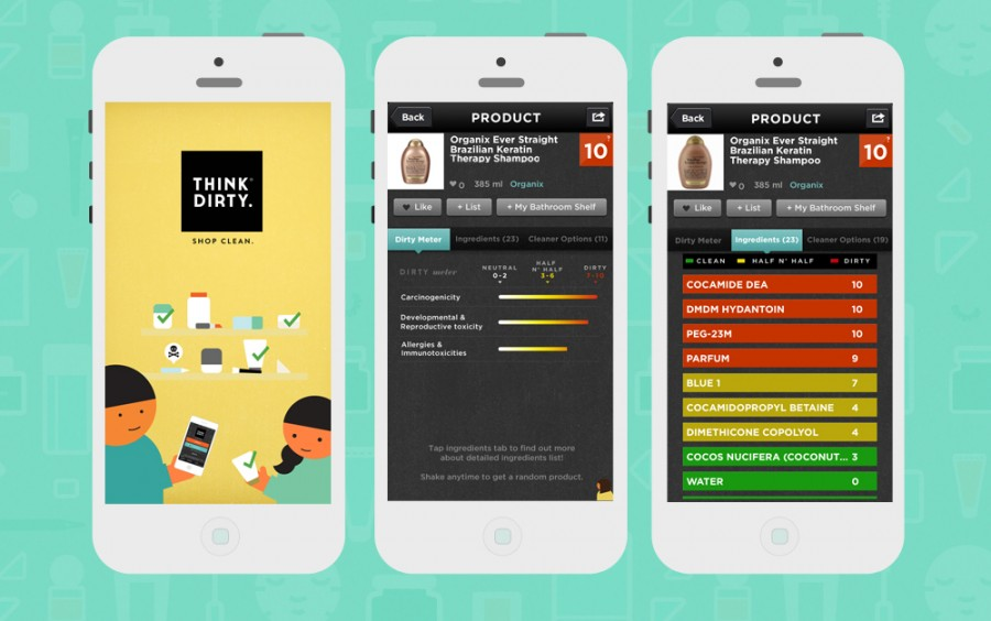 Image showing screenshots of the Think Dirty app from CALMERme blog post