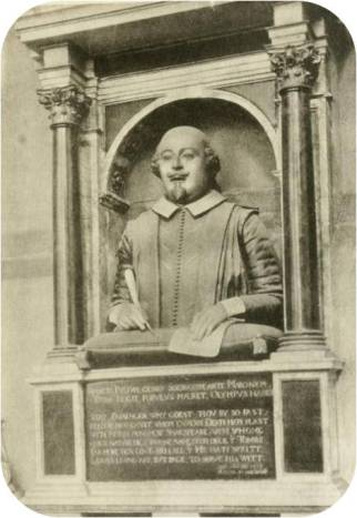 Shakespeare's memorial in the chancel of Stratford's Holy Trinity church