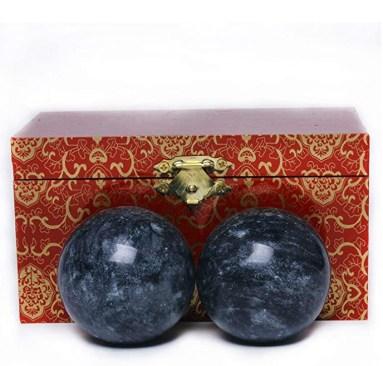 2'' Dark Grey Marble Baoding Health Stress Exercise Balls Chinese Exercise