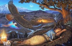 Mujer en conexión con la naturaleza y los espíritus