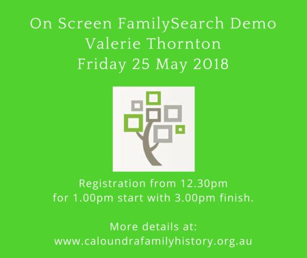 On screen FamilySearch Demo by Valerie Thornton, CFHRI