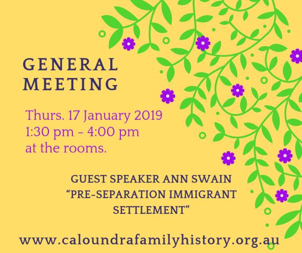 January 2018 General Meeting