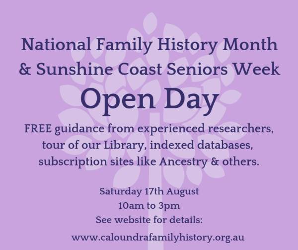 National Family History Month & Sunshine Coast Seniors Week Combined Open Day
