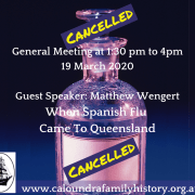 General Meeting Cancelled: Covid 19 Virus