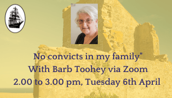 """No convicts in my family"""" With Barb Toohey via Zoom"""