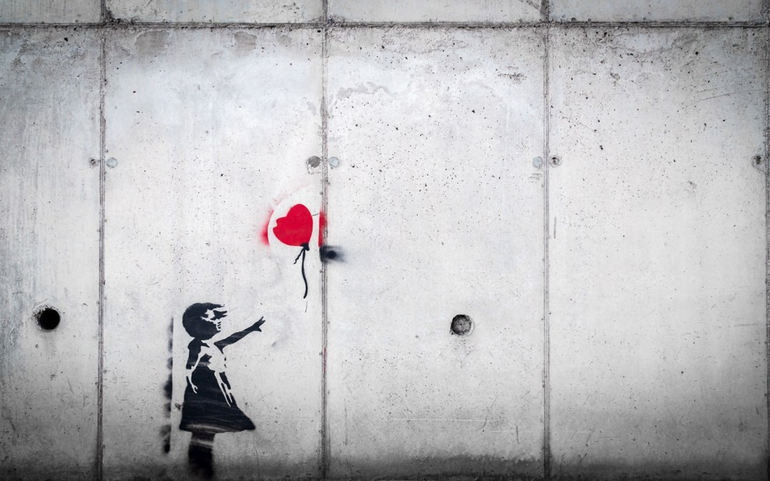 grief painting of little girl losing heart shaped balloon