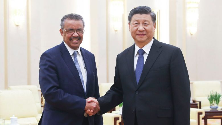 China's President Jinping and WHO Director Ghebreyesus meet in Beijing in January 2020.