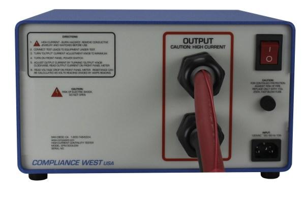 Compliance West GFM-300A-DM Ground Continuity Tester Back View