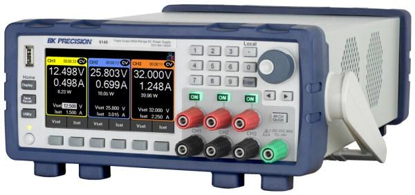 B&K Precision 9140 Triple-Output Multi-Range DC Power Supply at an angle