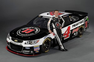 Kevin Harvick with his new Jimmy John's Chevrolet he'll drive for Stewart-Haas Racing in 2014