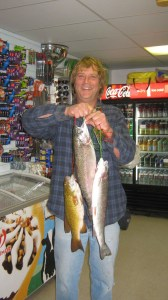 Carl Ludwig from Fremont caught a Stringer of two trout and one smallmouth Bass weighing at 8.96 pounds on Power Eggs at the East Beach.