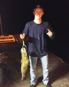 This 9-pound catfish was caught on chicken livers in Siesta Cove by Robert Molebash and Troy Gross. (LAKE JENNINGS)