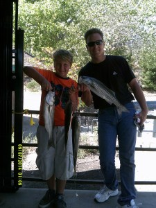 Luke Voroschuck of Santa Cruz with a striper stringer totaling 9.6 pounds. (LAKE DEL VALLE)