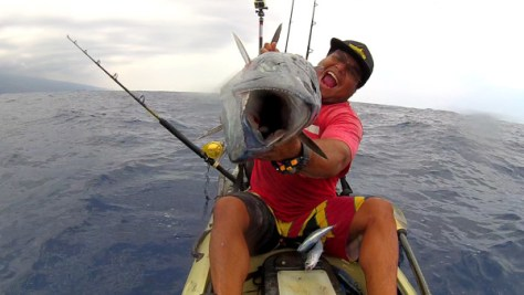 Andy and his wahoo catch.
