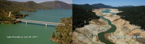 Lake Oroville before and after. (CALIFORNIA DEPARTMENT OF WATER RESOURCES)