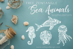 Zentangle Sea Animals Free SVG