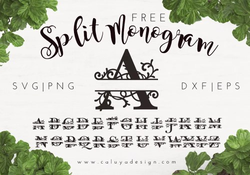 split monogram free SVG