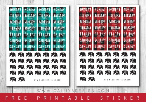 FREE Tartan Check Date Cover Planner Stickers Download