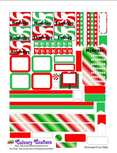 Christmas Candy Printable Planner Stickers 1 of 2