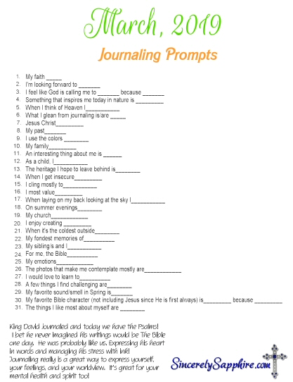 March Journaling Prompt Plan