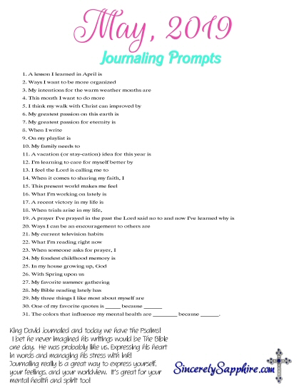 May 2019 journaling prompts download